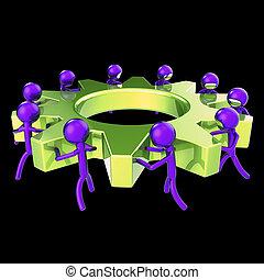 negócio, processo, cogwheel, gearwheel, trabalho equipe, caráteres, abstratos