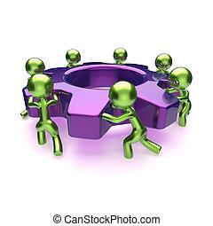 negócio, processo, cogwheel, gearwheel, trabalho equipe, caráteres
