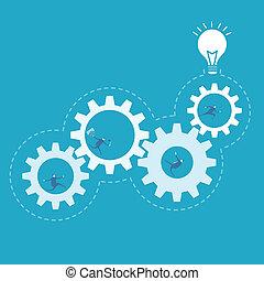 negócio, processo, Engrenagem, melhoria, fiar, homem