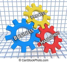 negócio, processo, gerência, ligado, a, mecanismo, de, metal, engrenagens