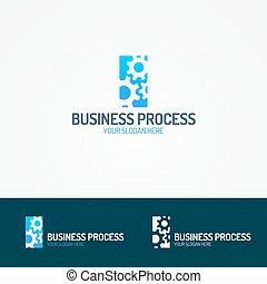 negócio, processo, logotipo, jogo, consistindo, de, três, engrenagem