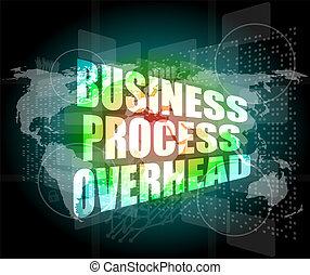 negócio, processo, olá, despesas gerais, interface, tecnologia