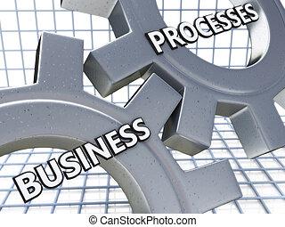 negócio, processos, ligado, a, mecanismo, de, metal, engrenagens