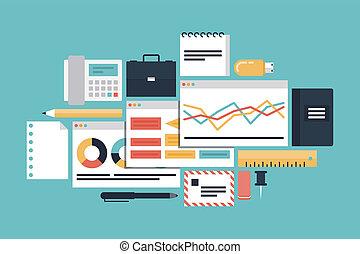 negócio, produtividade, ilustração, conceito