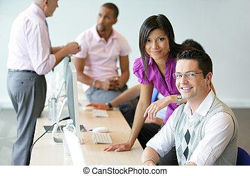 negócio, profissionais, no trabalho