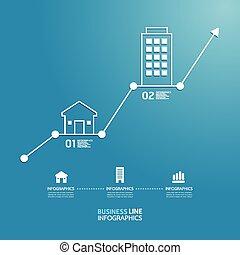negócio propriedade, investimento, diagrama, linha, estilo, modelo, para, infographics, vetorial