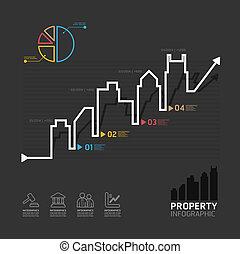 negócio propriedade real, diagrama, linha, estilo, modelo, para, infographics, vetorial