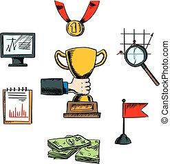 negócio, realização, sucesso, ícones