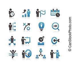 negócio, recursos humanos, ícone