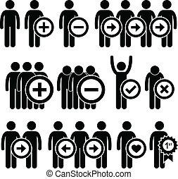 negócio, recursos humanos, pictograma