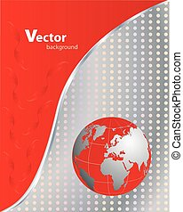 negócio, red-metallic, abstratos, -, vetorial, fundo
