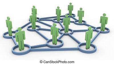 negócio, rede, comunidade, 3d