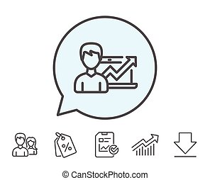 negócio, resultados, chart., crescimento, icon., linha