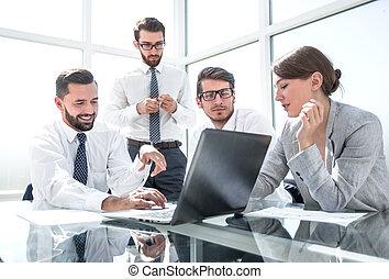 negócio, resultados, esperando, equipe, online