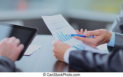 negócio, resultados, pesquisa, analisando, junto., equipe, mercado