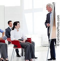 negócio sério, pessoas, em, um, conferência