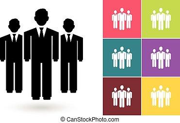 negócio, símbolo, vetorial, equipe, ou, ícone