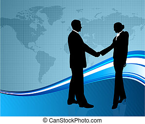 negócio, saudação, com, mapa mundial