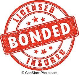 negócio, selo, licenciado, assegurado, vermelho, bonded
