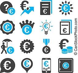 negócio, serviço, ícones, operação bancária, ferramentas, euro