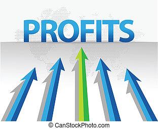 negócio, setas, alvo, lucros