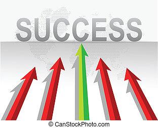 negócio, setas, alvo, sucesso