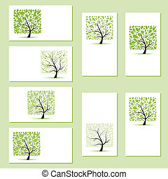 negócio, seu, árvores, floral, projeto fixo, cartões