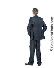 negócio, sobre, -, costas, olhar, algo, fundo, branca, homem
