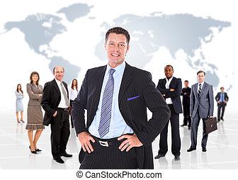 negócio, sobre, fundo, isolado, pessoas., grupo, branca