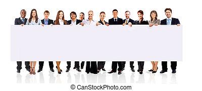 negócio, sobre, isolado, fundo, equipe, branca, bandeira