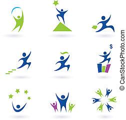 negócio, social, e, sucesso, ícones