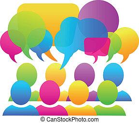 negócio, social, mídia, fala