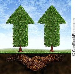 negócio, sociedade, crescimento