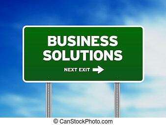 negócio, soluções, sinal rodovia