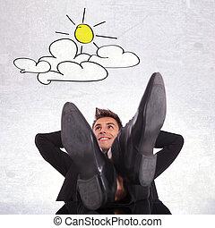 negócio, sonhar, dia, relaxante, homem
