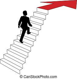 negócio, subidas, cima seta, escadas, homem