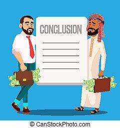 negócio, sucedido, cartaz, acordo, vetorial, modelo, caricatura