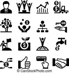 negócio, sucesso, ícone