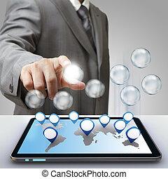 negócio, sucesso, diagrama, vidro, ícone