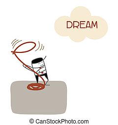 negócio, sucesso, futuro, apanhar, sonho, visão, homem