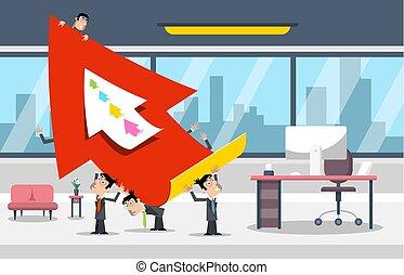 negócio, sucesso, grande, concept., arrow., vetorial, homens negócios, design., escritório, vermelho, sala