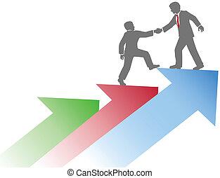 negócio, sucesso, pessoas, cima, ajudando, equipe