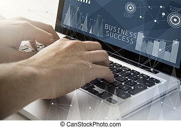 negócio, sucesso, techie, trabalhando