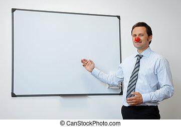 negócio, tábua, palhaço, nariz, apresentando, vermelho, algo