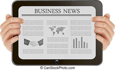 negócio, tabuleta, ilustração, mão, pc, vetorial, segurando, digital, news.