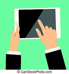 negócio, tabuleta, tela, mão, vetorial, segurando, toque