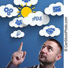 negócio, tecnologia, internet, e, marketing., jovem, homem negócios, pensando, about:, anúncios