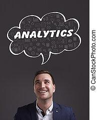 negócio, tecnologia, internet, e, marketing., jovem, homem negócios, pensando, about:, analytics