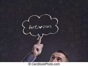 negócio, tecnologia, internet, e, marketing., jovem, homem negócios, pensando, about:, antivirus