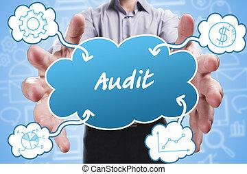 negócio, tecnologia, internet, e, marketing., jovem, homem negócios, pensando, about:, auditoria
